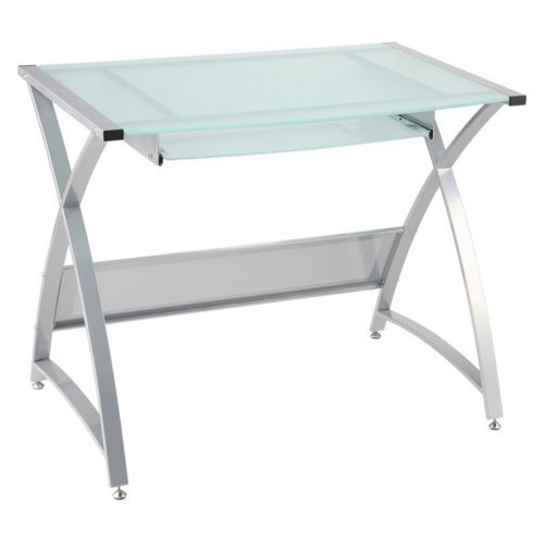 Buy Low Price Comfortable ITALMODERN BELEVEDERE Computer Desk; Frosted/Aluminum (B001NMSEPM)