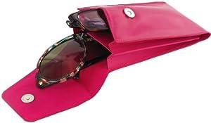 Double Leather Sunglass Case Eyeglass Cases, Fuchsia, Double