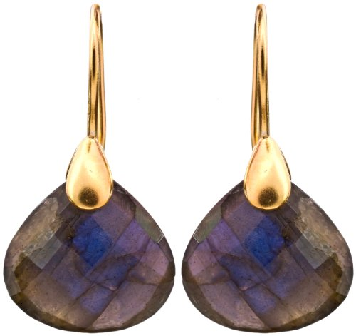 Sterling Gold Plated Earrings With Faceted Gems - Sterling Silver - Color Labradorite