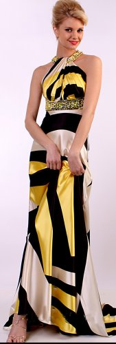 175 YELLOW BEAD TRIM SATIN GOWN EVENING DRESS