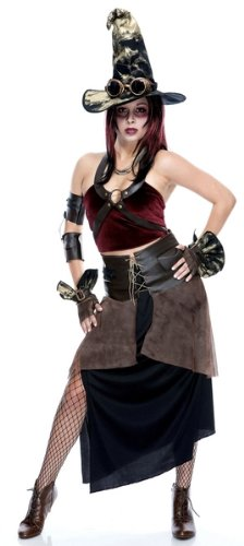 Paper Magic Steampunk Witch Goth Cyber Punk Adult Cosplay Costume