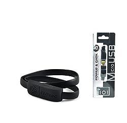 CLiPtec OCC101 WRIST BRACELET Slim Flat Style USB 2.0 Micro USB Cable - Black