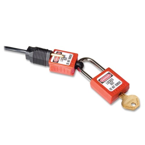 Master Lock S2005 Plug Lockout - For Electrical Plug - Red