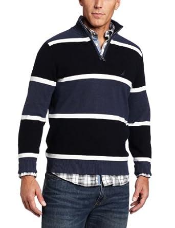 Nautica Men's Big-Tall Milano Stripe Sweater, J Class Navy, 5X