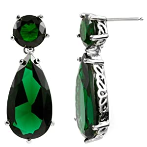 Inspired by Angelina Jolie's Emerald Fashion Earrings - Petite Silver Tone