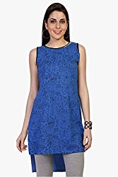 Funk For Hire Women Cotton Sinkar knit Mela printed sleeveless Tunic (Blue, , Size XL)