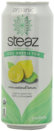Steaz Iced Tea Can, Lemon Green, Unsweetened, Gluten Free, 16-ounces (Pack of12) (Lemon Soda Organic compare prices)
