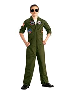 "Top Gun Costume, Kids Top Gun Flight Suit Classic Outfit, Small, Age 3 - 4, HEIGHT 3' 8"" - 4'"