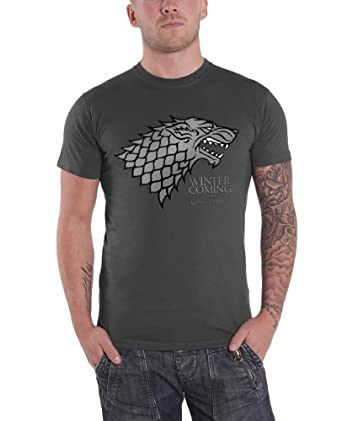 Official T Shirt GAME OF THRONES Logo Grey HOUSE STARK S