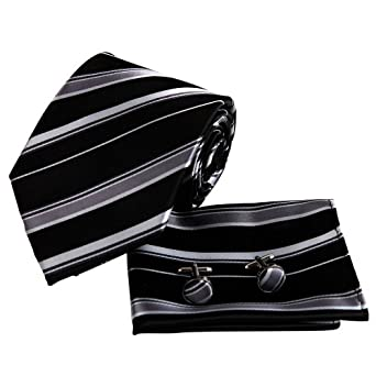 EAC1035 Black Striped Casual Presents Silk Handkerchiefs Cuffilinks Tie Excellent Formal Wear Set By Epoint