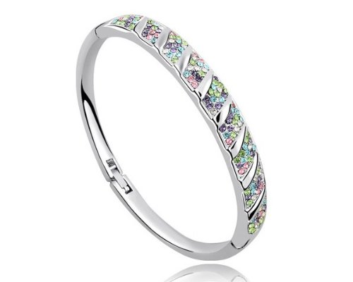 Ninabox ® Cool Breeze Collection [CBC] -- Free Wind. 18K White Gold Plated Bangle Bracelet With Multicolored Swarovski Elements Austria Crystal. Bracelet Diameter: 6.2cm. BAG02965WM