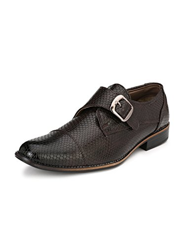Sir Corbett Men's Synthetic Monk Strap Formal Shoes (8, Brown)