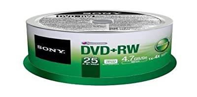 Sony 25DPW47SP DVD+RW 4X 4.7GB Spindle Rewritable DVD 25-Pack New