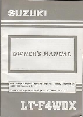 1992 Suzuki Atv 4 Wheeler Lt-F4Wdx P/N 99011-19B35-03A Owners Manual (571) front-482251