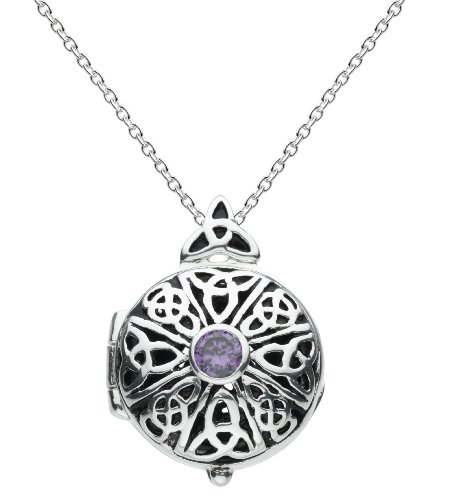 Heritage Silver Plated Celtic Locket Round Knotwork and Purple Zirconia Necklace SP92826PC009
