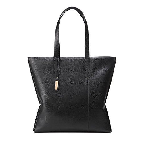 Borsa donna shopper in pelle morbida Shopping con Doppia maniglia DUDU Nero