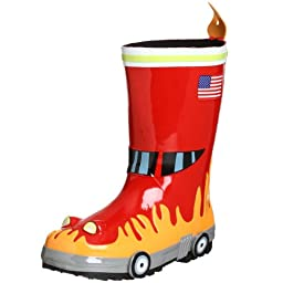 Kidorable Little Boys\' Fireman Rain Boot , Red, 11