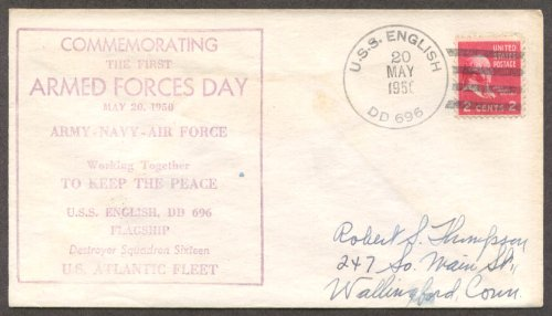 USS English DD-696 Armed Forces Day postal cover 1950