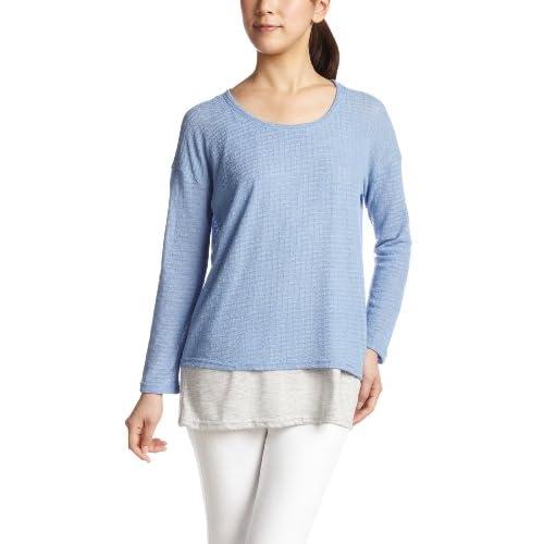 (コンフィー)comfy ド甘ニットソー×杢ティー天竺 天竺レイヤードTシャツ 1311161  ブルー F