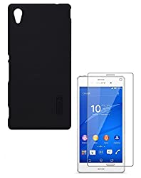 YGS Nillkin Super Frosted Back Case For Sony Xperia M4 Aqua -Black With Tempered Glass