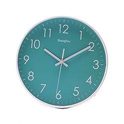 SonYo Indoor/Outdoor Non-Ticking Silent Quartz Modern Simple Wall Clock Digital Quiet Sweep Movement Office Decor 10 Inch(Bluegreen)