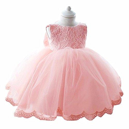 YiZYiF Kleinkinder Baby Mädchen Kleid Blumenspitze Prinzessin Kleid Hochzeit Partykleid Tüll Festzug Gr. 68 74 80 86 82 (74 (Herstellergröße: 65), Rosa)