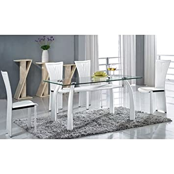 Ramona 5 Piece Dining Set - White, Glass Top Table by Chintaly Imports