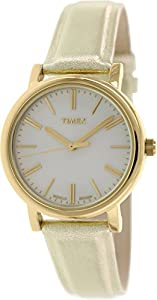 Timex Women's Originals T2P328 Gold Leather Analog Quartz Watch with Silver Dial