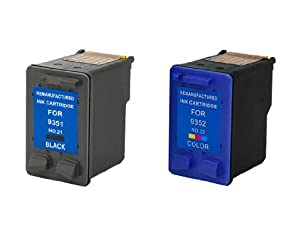 Remanufactured Ink Cartridge Replacement for HP 21 and HP 22 (1 Black 1 Color 2 Pack)