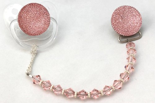 Pink Swarovski Crystal ONLY Pacifier Clip (CSGP)
