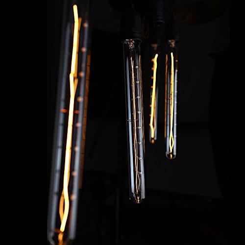 4 PACK #Long Filament# T30 (T10) Vintage Light Bulb, Flute Tungsten, Golden Tinted Glass, 300mm, 2500K Sunrise White, E26 Base for Pendant, Chandelier, Lantern, Wall Scone lighting 1