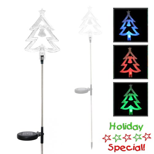 Encore H5176 Solar Powered Color Changing Christmas Tree Garden Stake, Clear