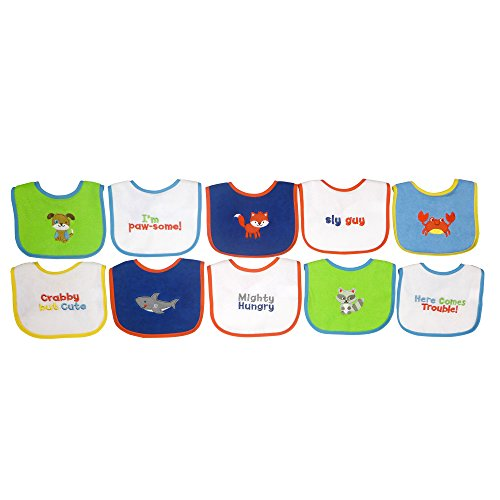 Neat Solutions 10 Pack Water Resistant Drooler Bib Set, Multi-color