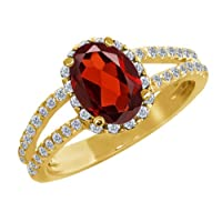 1.88 Ct Oval Red Garnet White Diamond 18K Yellow Gold Ring