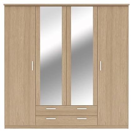 Bronte 4Puertas 2Cajones Armario con espejo–Efecto madera de roble