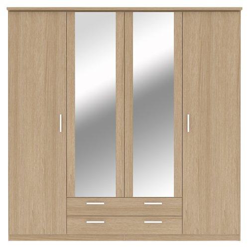 Bronte 4 porte e 2 cassetti, guardaroba con specchio, effetto rovere