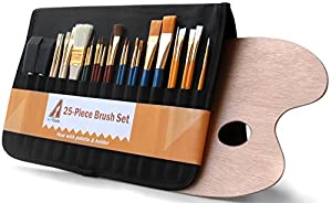 Art Tools Paint Brush Set + Holder & Palette - 25-Piece Paint brushes for Watercolor, Acrylic, Oil & Gouache; Top Quality Wood Palette, Velcro Case, Bristles & Wood Handles; Round, Flat, Sash & Foam Brushes; For Home, School, Artists [100% Satisfaction Guaranteed]
