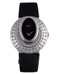 RSW Women's 7130.BS.TS1.Q1.D1 Moonflower Black Dial Satin Diamond Watch