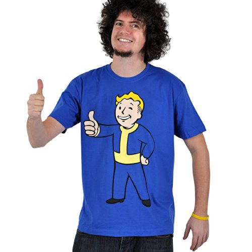 Fallout - T shirt stampa Thumbs Up - Maglia pollice all'insù - Girocollo blu - L