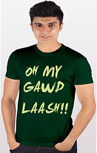 Id Enquotism Green Combed Cotton Fabric Round Neck Men Tshirt C.I.D - Oh My God Laash Green (Multicolor)