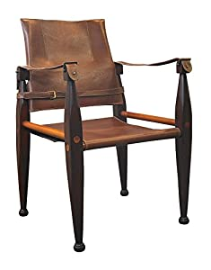 Colonial Campaign Safari Chair In Wood And Leather Amazon