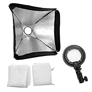 GTMax 24'' 60x60cm Portable Foldable off Camera Photo / Video Large Speedlite Flash Softbox with L-Bracket, Shoe Mount and Carry Case for Nikon Canon Speedlite EX430 EX580 SB600 SB800 or and Speedlite Flash