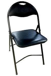 Heavy Duty Black Metal Folding Chair With Padded Seat For Comfort Steel Frame 1