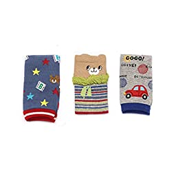 Cinlan Baby\'s Pack of 3 Cartoon Cotton Soft Leg Warmers/Kneepads (Boy-Color)