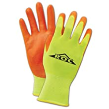 Magid ROC HV144 Nylon Glove, Orange Polyurethane Palm Coating, Knit Wrist Cuff