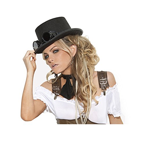 Sexy Women's Steampunk Top Hat Costume Accessory, One Size, Black