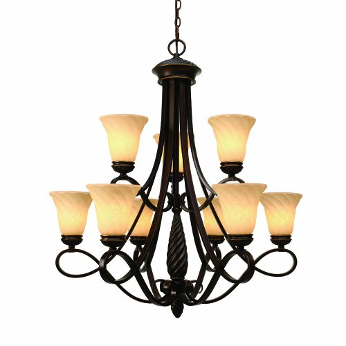 Golden Lighting 8106-9 CDB Torbellino Nine Light  Chandelier, Cordoban Bronze Finish