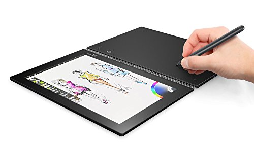 Lenovo Yoga Book 25,65cm (10,1 Zoll Full HD) 2-in-1 Tablet (Intel Z8550 Quad-Core, 2,4GHz, 4GB RAM, 64GB eMMC, Kamera:2MP+8MP, Touch, Dolby Atmos, Windows 10 Pro) schwarz inkl. Halo Tastatur+Real Pen