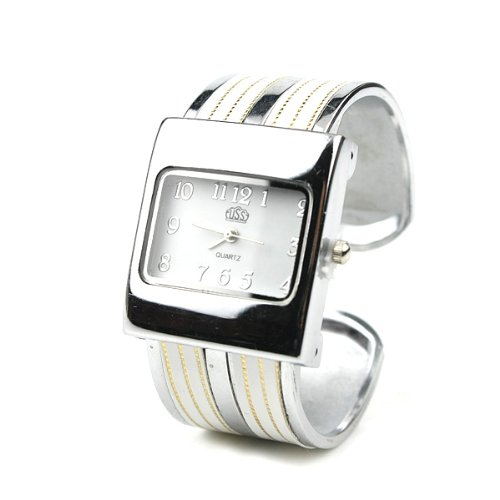 BestOfferBuy Womens Silver Fashion Band Bangle Bracelet Wrist Watch White Strips