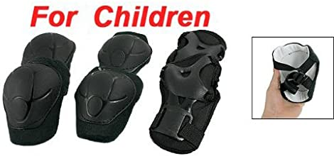 TOOGOO R3 Sets Skating Gear Knee Elbow Wrist Support Black Pads for Child